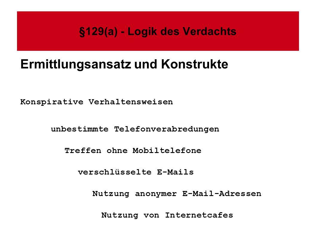 §129(a) - Logik des Verdachts Ermittlungsansatz und Konstrukte Konspirative Verhaltensweisen unbestimmte Telefonverabredungen Treffen ohne Mobiltelefone verschlüsselte E-Mails Nutzung anonymer E-Mail-Adressen Nutzung von Internetcafes