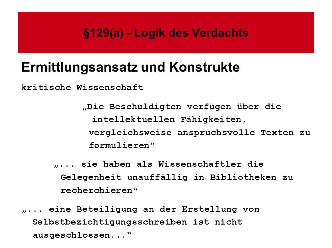 §129(a) - Logik des Verdachts Ermittlungsansatz und Konstrukte kritische Wissenschaft Die Beschuldigten verfügen über die intellektuellen Fähigkeiten, vergleichsweise anspruchsvolle Texten zu formulieren...