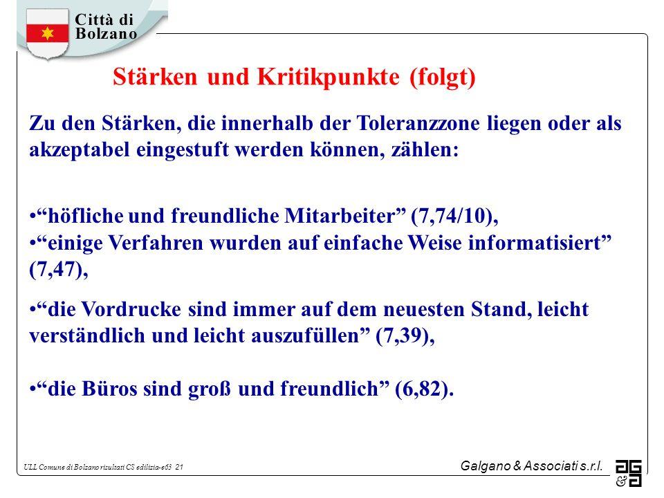 Galgano & Associati s.r.l. ULL Comune di Bolzano risultati CS edilizia-e63 21 Zu den Stärken, die innerhalb der Toleranzzone liegen oder als akzeptabe