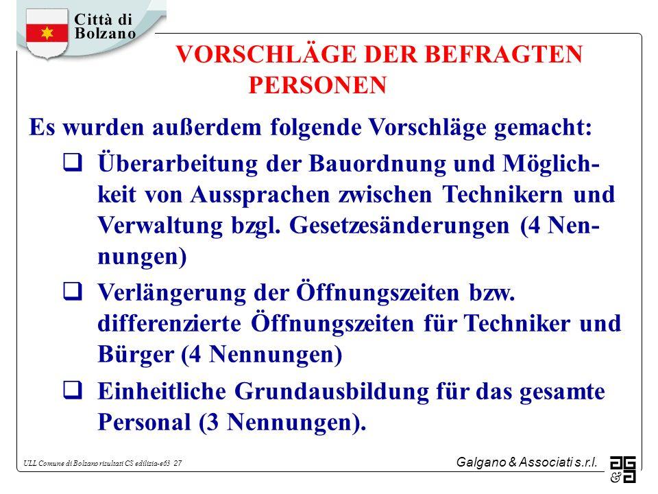 Galgano & Associati s.r.l. ULL Comune di Bolzano risultati CS edilizia-e63 27 VORSCHLÄGE DER BEFRAGTEN PERSONEN Es wurden außerdem folgende Vorschläge