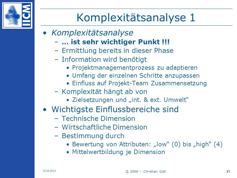 © 2009 - Christian Gütl 12.03.2014 21 Komplexitätsanalyse 1 Komplexitätsanalyse –… ist sehr wichtiger Punkt !!.