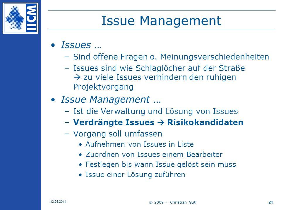 © 2009 - Christian Gütl 12.03.2014 24 Issue Management Issues … –Sind offene Fragen o.