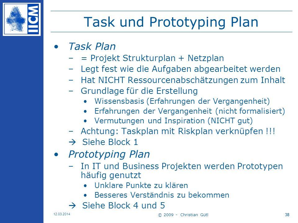 © 2009 - Christian Gütl 12.03.2014 38 Task und Prototyping Plan Task Plan –= Projekt Strukturplan + Netzplan –Legt fest wie die Aufgaben abgearbeitet werden –Hat NICHT Ressourcenabschätzungen zum Inhalt –Grundlage für die Erstellung Wissensbasis (Erfahrungen der Vergangenheit) Erfahrungen der Vergangenheit (nicht formalisiert) Vermutungen und Inspiration (NICHT gut) –Achtung: Taskplan mit Riskplan verknüpfen !!.