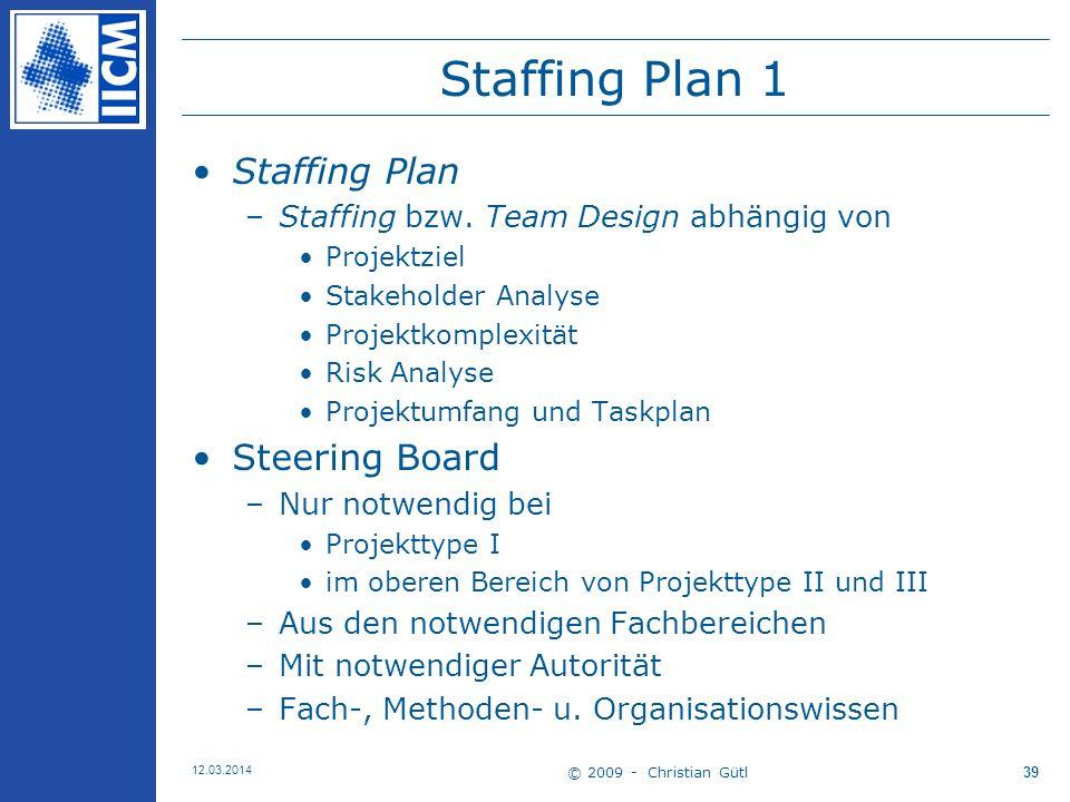 © 2009 - Christian Gütl 12.03.2014 39 Staffing Plan 1 Staffing Plan –Staffing bzw.