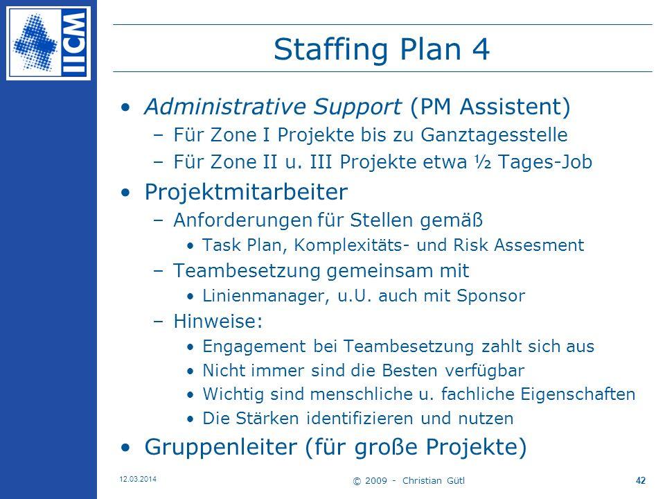 © 2009 - Christian Gütl 12.03.2014 42 Staffing Plan 4 Administrative Support (PM Assistent) –Für Zone I Projekte bis zu Ganztagesstelle –Für Zone II u.