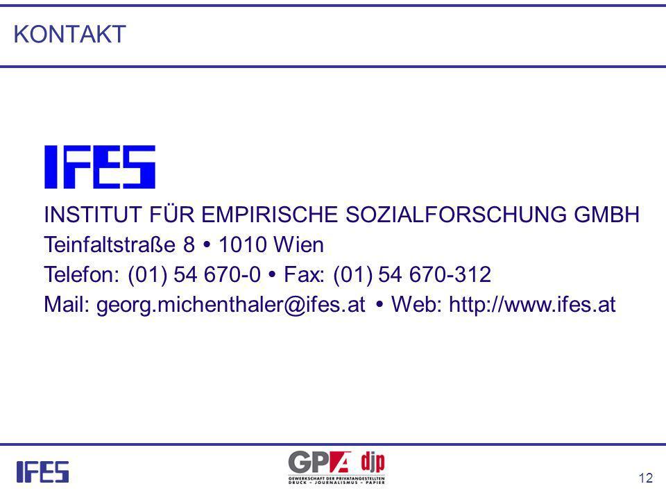 12 KONTAKT INSTITUT FÜR EMPIRISCHE SOZIALFORSCHUNG GMBH Teinfaltstraße 8 1010 Wien Telefon: (01) 54 670-0 Fax: (01) 54 670-312 Mail: georg.michenthaler@ifes.at Web: http://www.ifes.at