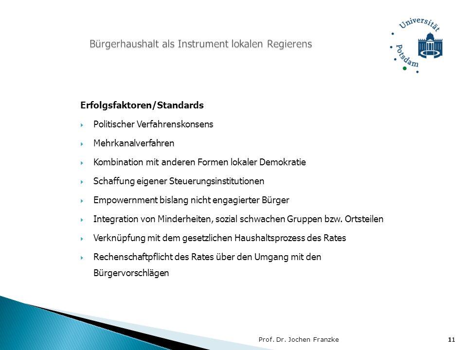 Prof. Dr. Jochen Franzke11 Erfolgsfaktoren/Standards Politischer Verfahrenskonsens Mehrkanalverfahren Kombination mit anderen Formen lokaler Demokrati
