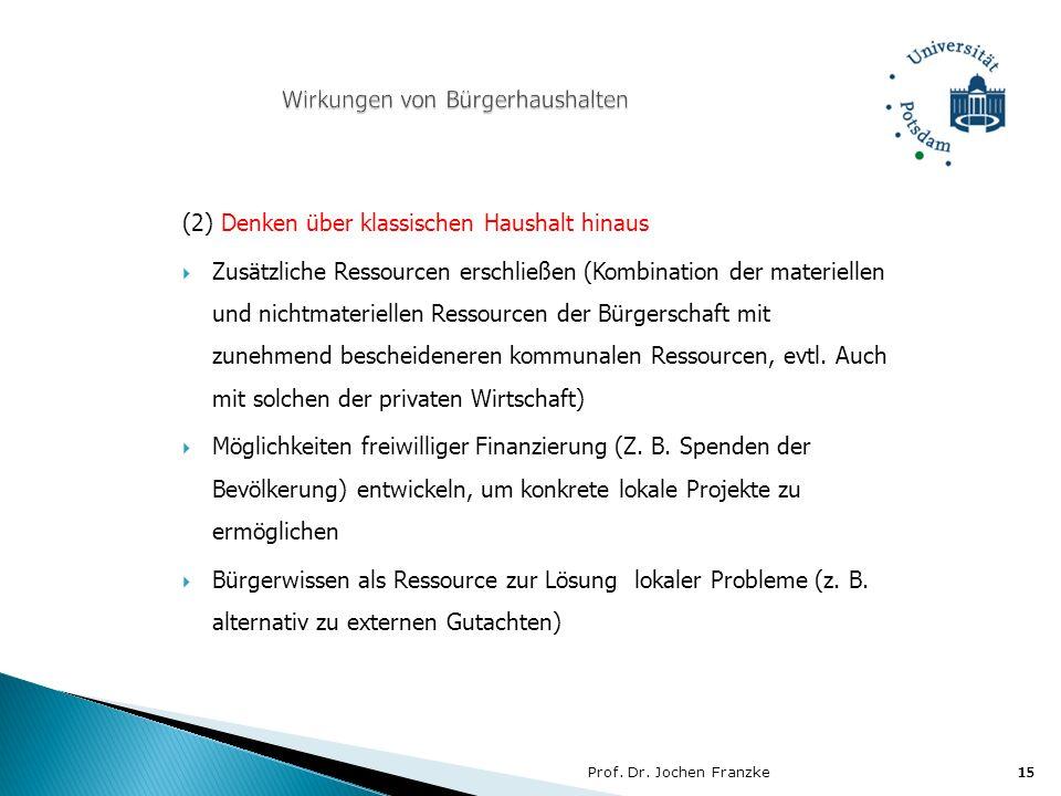Prof. Dr. Jochen Franzke15 (2) Denken über klassischen Haushalt hinaus Zusätzliche Ressourcen erschließen (Kombination der materiellen und nichtmateri