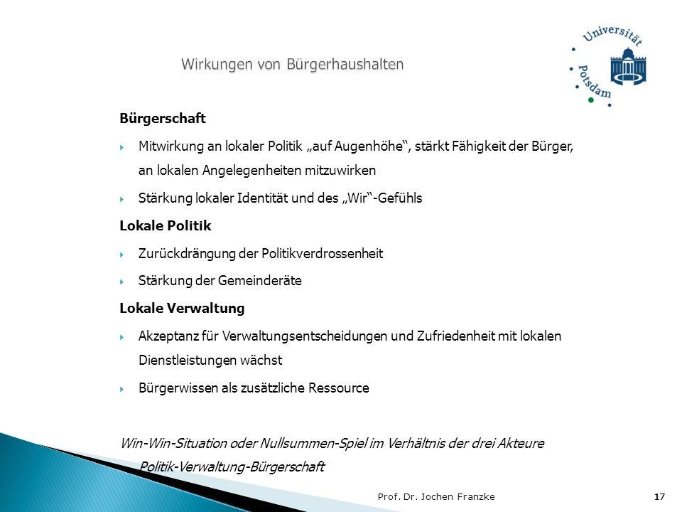 Prof. Dr. Jochen Franzke17 Bürgerschaft Mitwirkung an lokaler Politik auf Augenhöhe, stärkt Fähigkeit der Bürger, an lokalen Angelegenheiten mitzuwirk