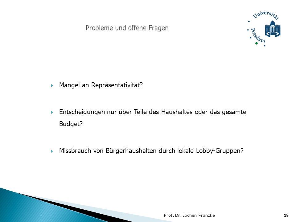 Prof. Dr. Jochen Franzke18 Mangel an Repräsentativität? Entscheidungen nur über Teile des Haushaltes oder das gesamte Budget? Missbrauch von Bürgerhau