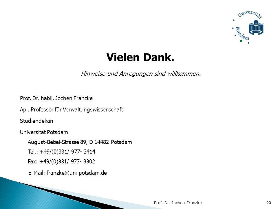 20 Vielen Dank. Hinweise und Anregungen sind willkommen. Prof. Dr. habil. Jochen Franzke Apl. Professor für Verwaltungswissenschaft Studiendekan Unive