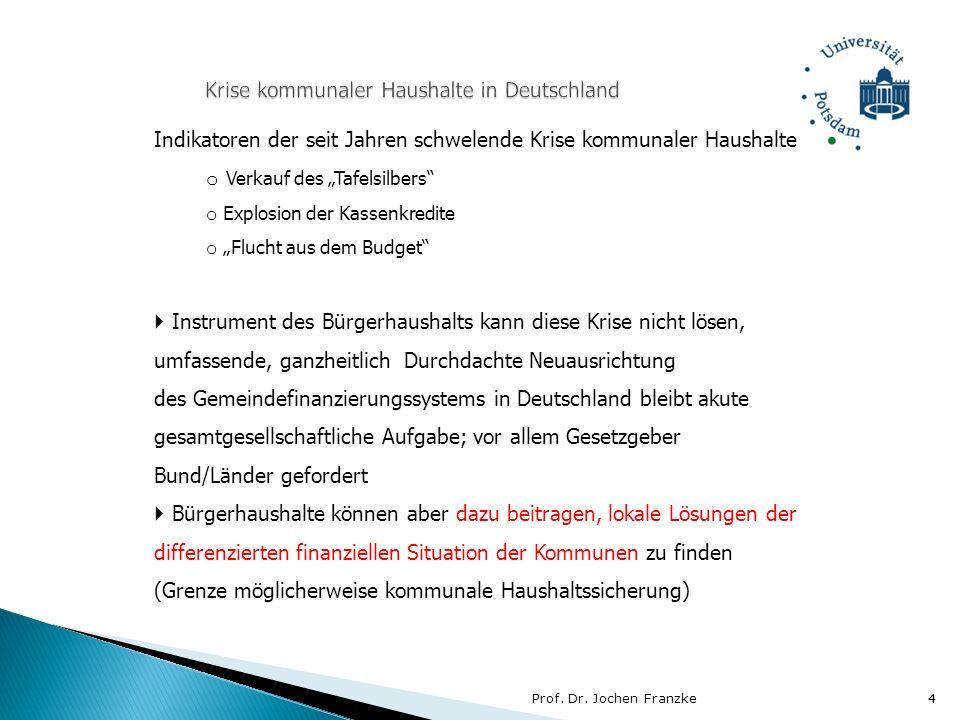 Prof. Dr. Jochen Franzke4 4 Indikatoren der seit Jahren schwelende Krise kommunaler Haushalte o Verkauf des Tafelsilbers o Explosion der Kassenkredite