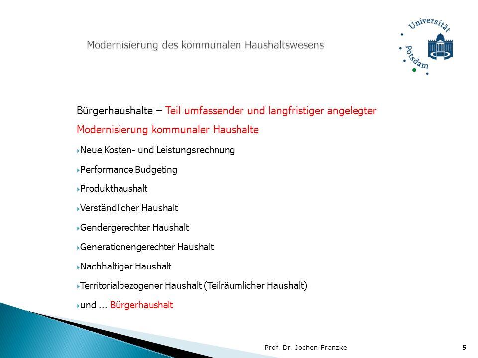 Prof. Dr. Jochen Franzke5 5 Bürgerhaushalte – Teil umfassender und langfristiger angelegter Modernisierung kommunaler Haushalte Neue Kosten- und Leist