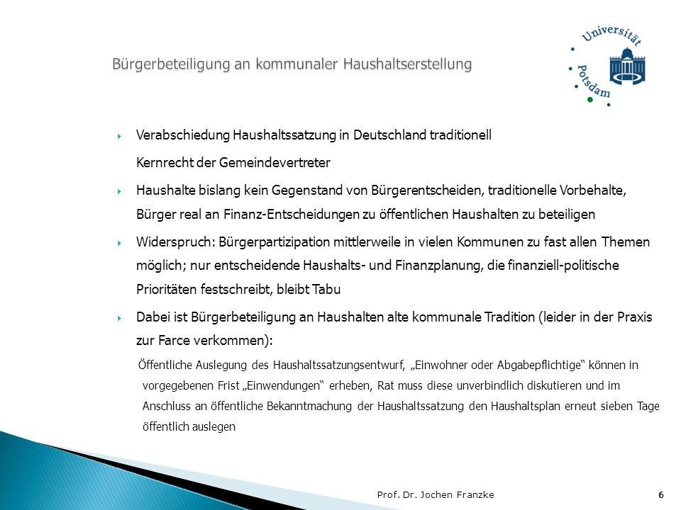 Prof. Dr. Jochen Franzke6 6 Verabschiedung Haushaltssatzung in Deutschland traditionell Kernrecht der Gemeindevertreter Haushalte bislang kein Gegenst