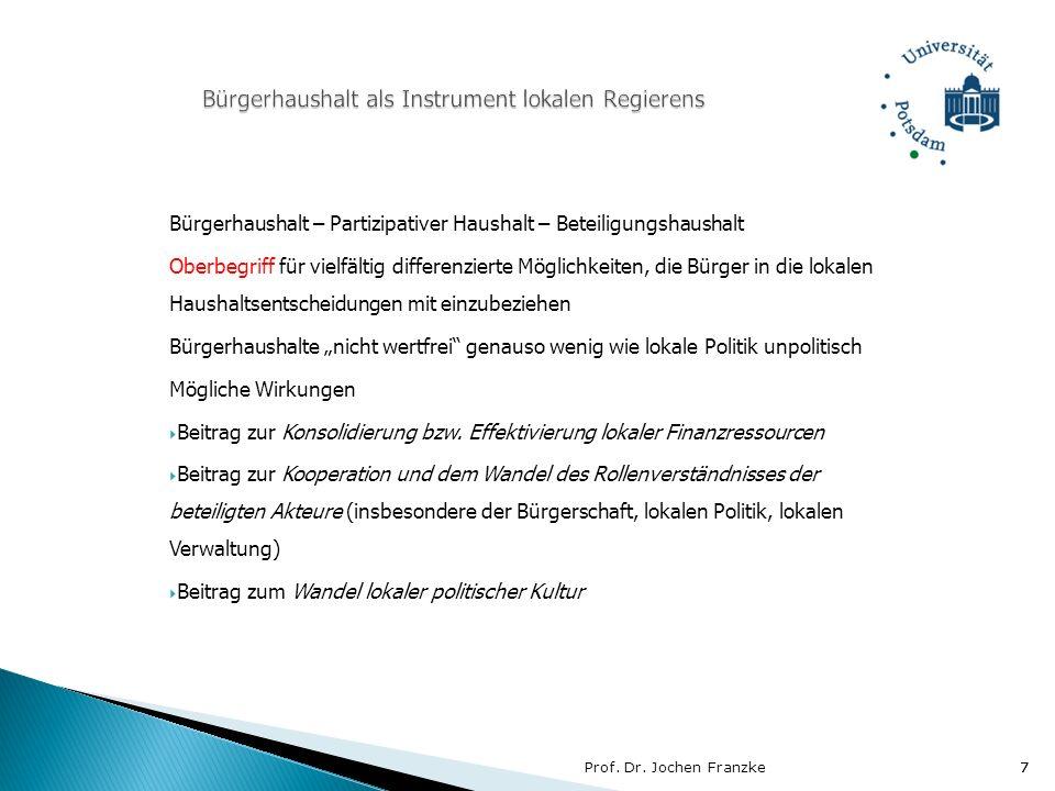 Prof. Dr. Jochen Franzke7 7 Bürgerhaushalt – Partizipativer Haushalt – Beteiligungshaushalt Oberbegriff für vielfältig differenzierte Möglichkeiten, d