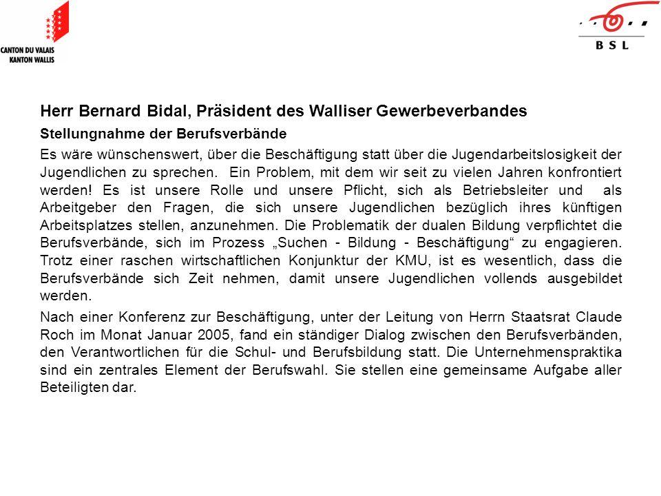 Herr Bernard Bidal, Präsident des Walliser Gewerbeverbandes Stellungnahme der Berufsverbände Es wäre wünschenswert, über die Beschäftigung statt über