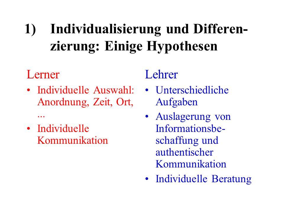 1)Individualisierung und Differen- zierung: Einige Hypothesen Lerner Individuelle Auswahl: Anordnung, Zeit, Ort,...