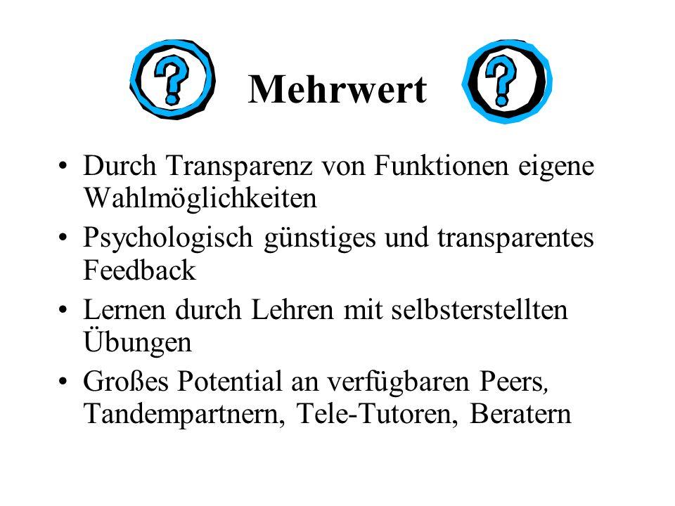 Mehrwert Durch Transparenz von Funktionen eigene Wahlmöglichkeiten Psychologisch günstiges und transparentes Feedback Lernen durch Lehren mit selbsterstellten Übungen Großes Potential an verfügbaren Peers, Tandempartnern, Tele-Tutoren, Beratern