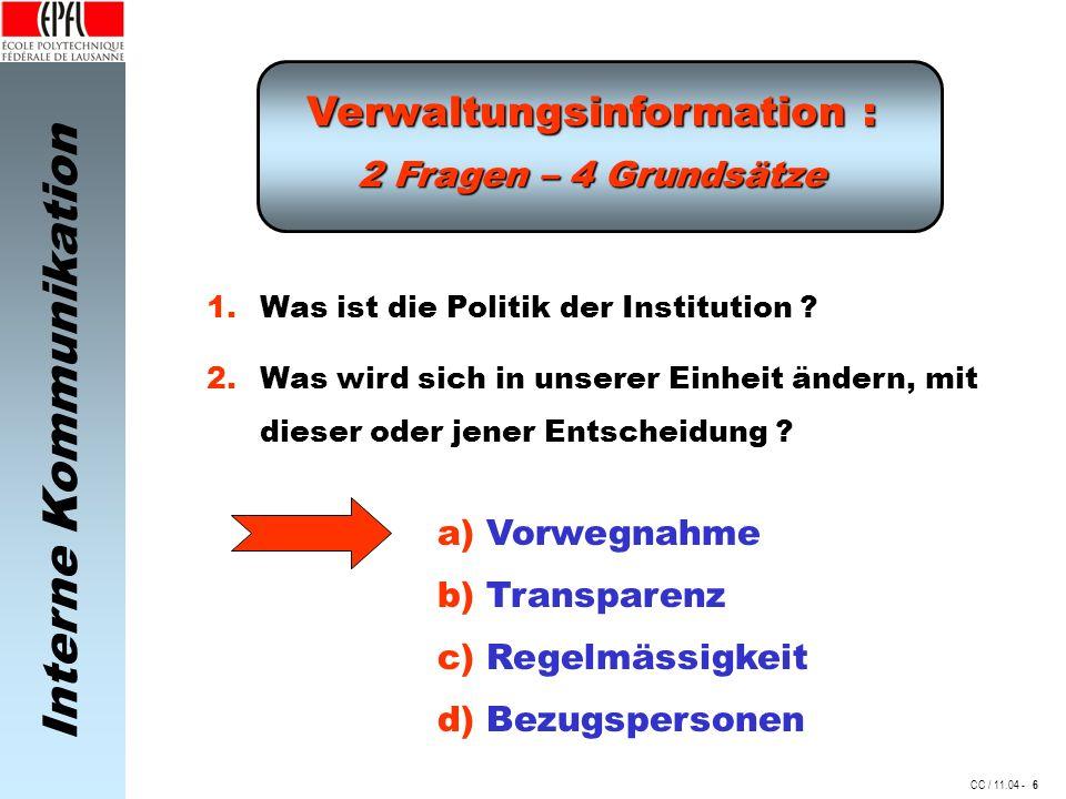 Interne Kommunikation CC / 11.04 - Verwaltungsinformation : 2 Fragen – 4 Grundsätze 1.