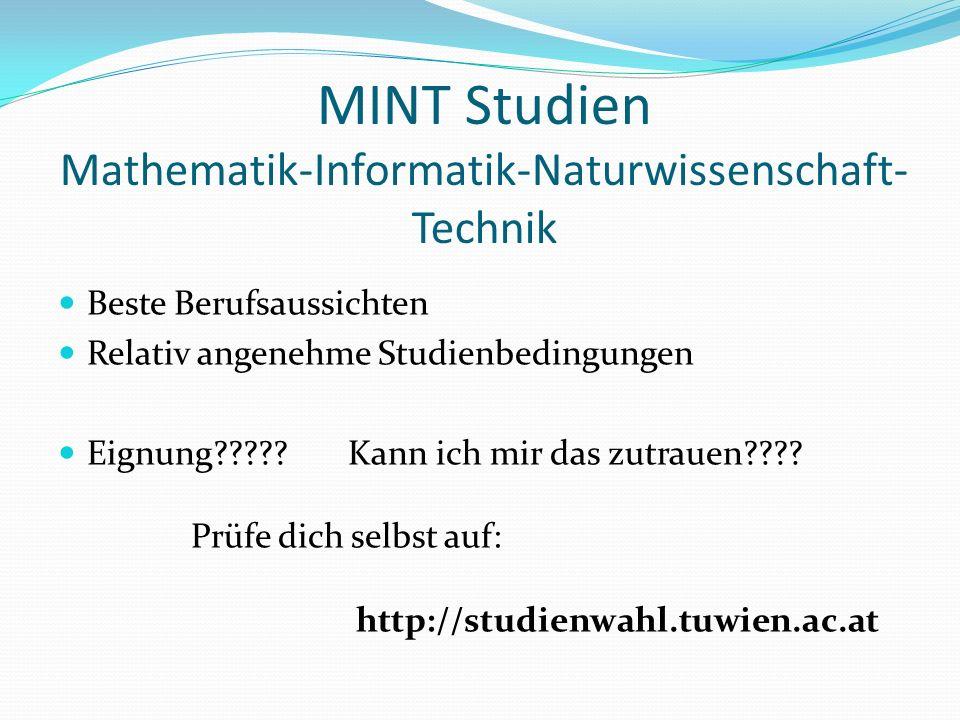 MINT Studien Mathematik-Informatik-Naturwissenschaft- Technik Beste Berufsaussichten Relativ angenehme Studienbedingungen Eignung .