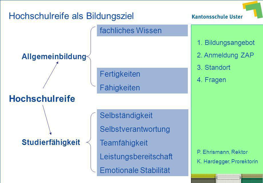 1. Bildungsangebot 2. Anmeldung ZAP 3. Standort 4. Fragen P. Ehrismann, Rektor K. Hardegger, Prorektorin Hochschulreife Allgemeinbildung Studierfähigk