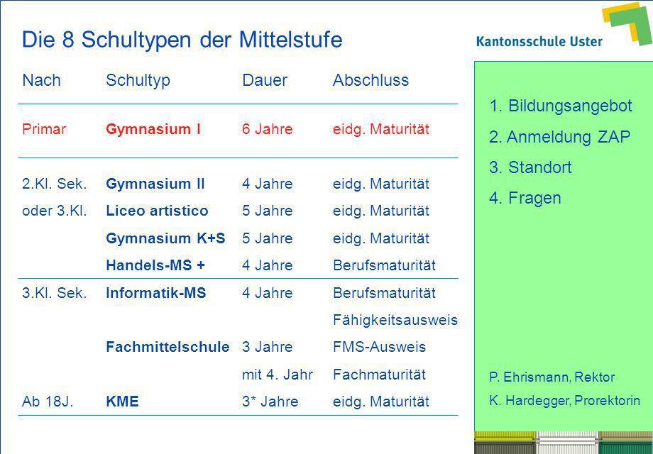 1. Bildungsangebot 2. Anmeldung ZAP 3. Standort 4. Fragen P. Ehrismann, Rektor K. Hardegger, Prorektorin Die 8 Schultypen der Mittelstufe NachSchultyp