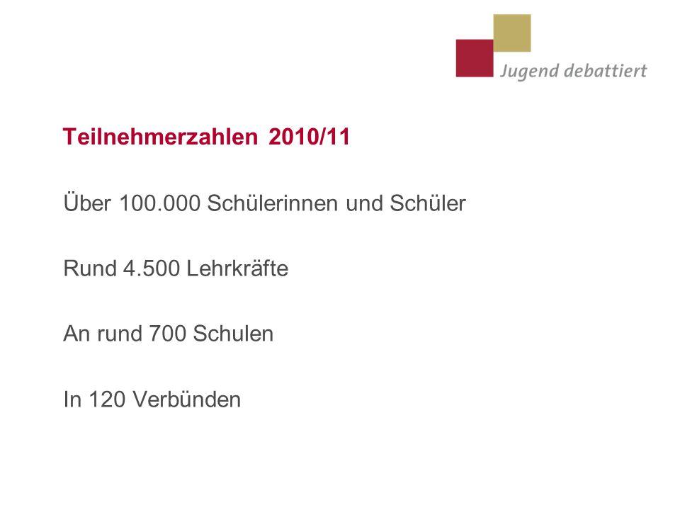 Teilnehmerzahlen 2010/11 Über 100.000 Schülerinnen und Schüler Rund 4.500 Lehrkräfte An rund 700 Schulen In 120 Verbünden