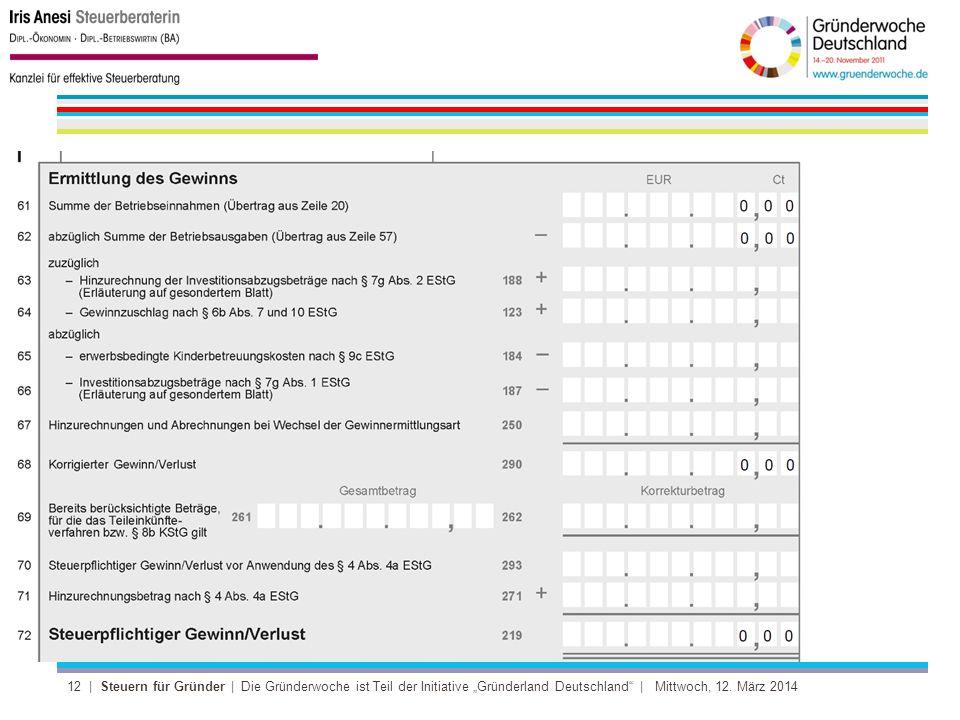 12 | Steuern für Gründer | Die Gründerwoche ist Teil der Initiative Gründerland Deutschland | Mittwoch, 12.