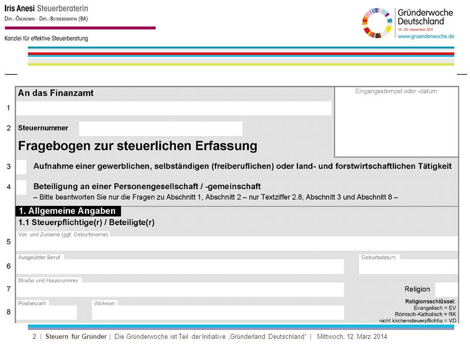 13 | Steuern für Gründer | Die Gründerwoche ist Teil der Initiative Gründerland Deutschland | Mittwoch, 12.