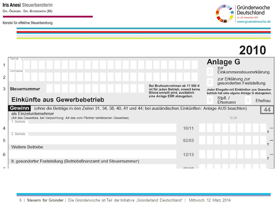 6 | Steuern für Gründer | Die Gründerwoche ist Teil der Initiative Gründerland Deutschland | Mittwoch, 12.