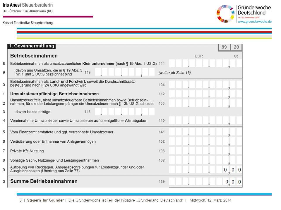 9 | Steuern für Gründer | Die Gründerwoche ist Teil der Initiative Gründerland Deutschland | Mittwoch, 12.