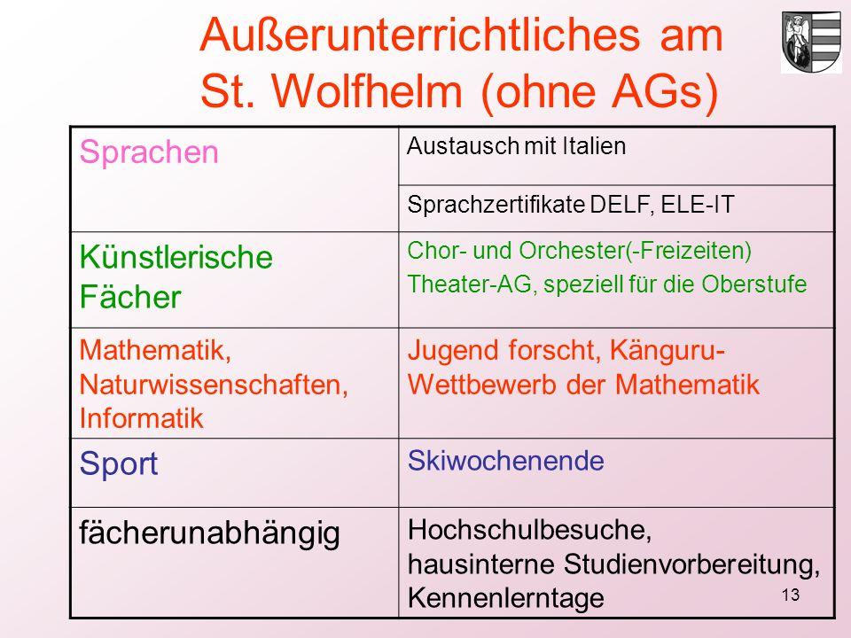 13 Sprachen Austausch mit Italien Sprachzertifikate DELF, ELE-IT Künstlerische Fächer Chor- und Orchester(-Freizeiten) Theater-AG, speziell für die Ob