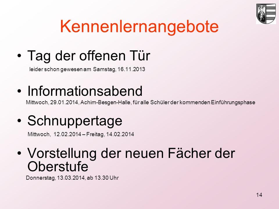 14 Kennenlernangebote Tag der offenen Tür leider schon gewesen am Samstag, 16.11.2013 Informationsabend Mittwoch, 29.01.2014, Achim-Besgen-Halle, für