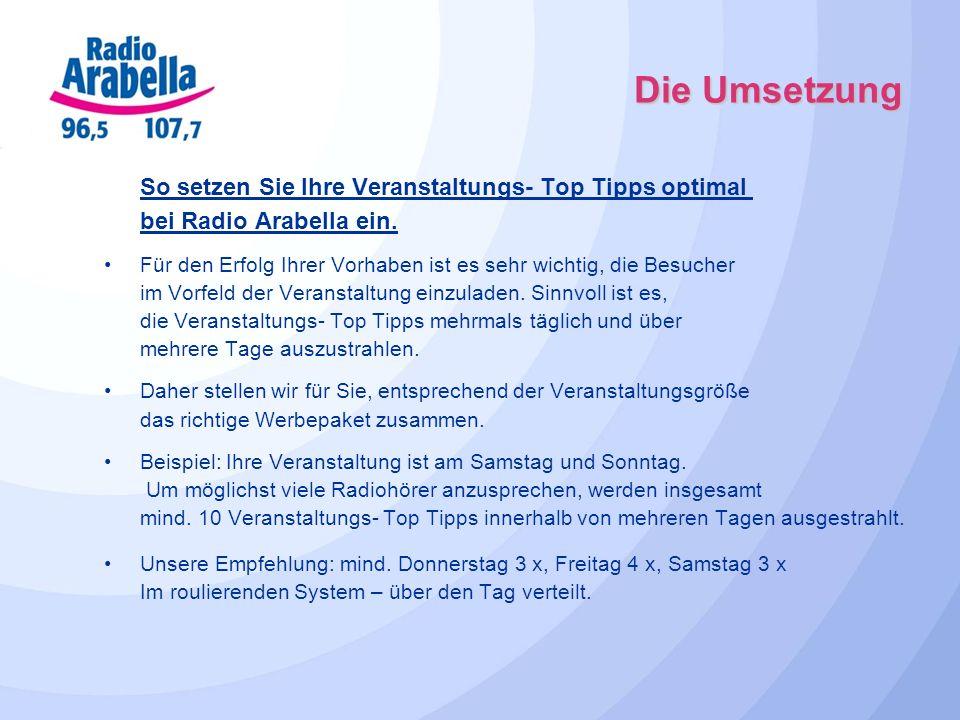 Die Umsetzung So setzen Sie Ihre Veranstaltungs- Top Tipps optimal bei Radio Arabella ein.