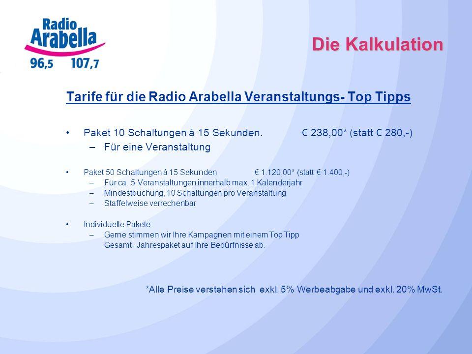 Die Kalkulation Tarife für die Radio Arabella Veranstaltungs- Top Tipps Paket 10 Schaltungen á 15 Sekunden. 238,00* (statt 280,-) –Für eine Veranstalt