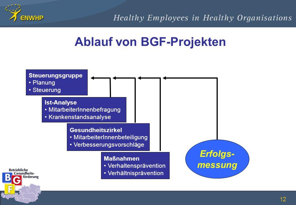 12 Ablauf von BGF-Projekten Steuerungsgruppe Planung Steuerung Ist-Analyse MitarbeiterInnenbefragung Krankenstandsanalyse Maßnahmen Verhaltenspräventi