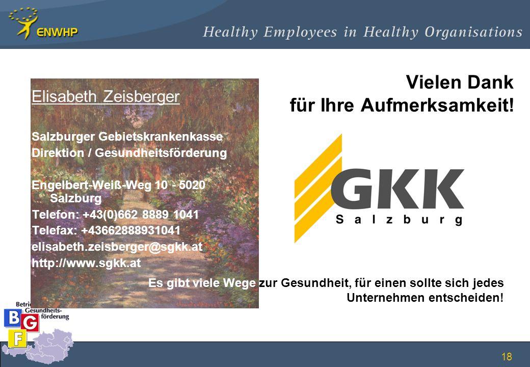 18 Vielen Dank für Ihre Aufmerksamkeit! Elisabeth Zeisberger Salzburger Gebietskrankenkasse Direktion / Gesundheitsförderung Engelbert-Weiß-Weg 10 - 5