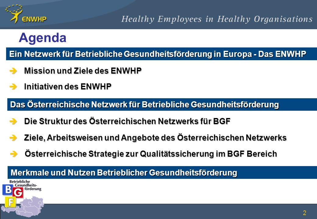 2 Ein Netzwerk für Betriebliche Gesundheitsförderung in Europa - Das ENWHP èZiele, Arbeitsweisen und Angebote des Österreichischen Netzwerks èMission