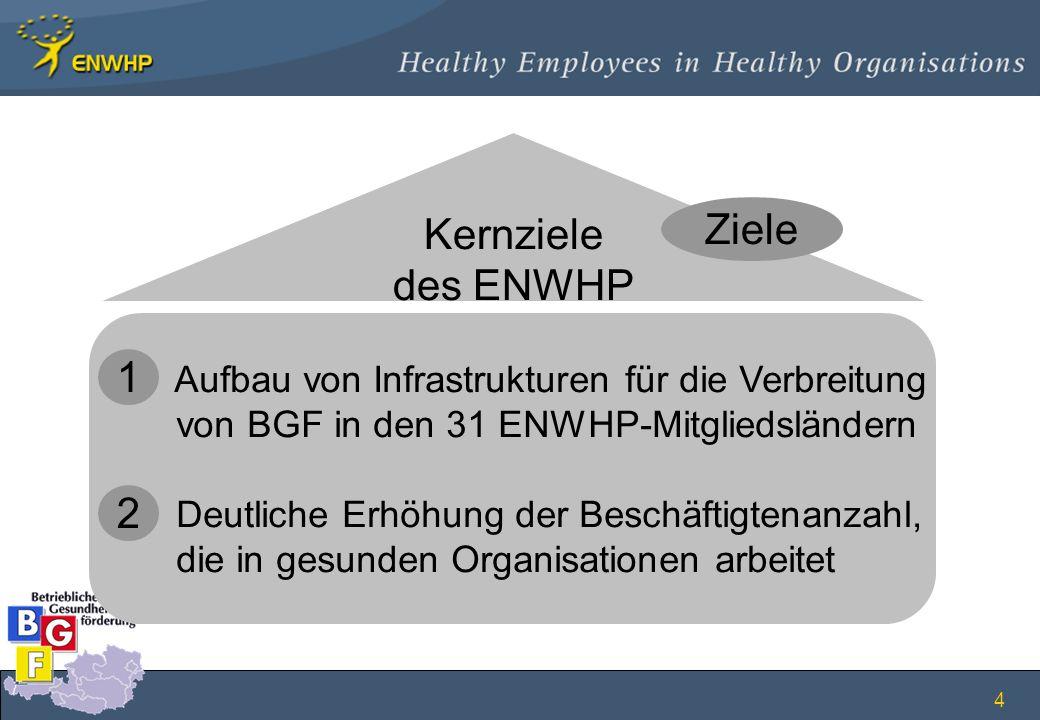 4 Aufbau von Infrastrukturen für die Verbreitung von BGF in den 31 ENWHP-Mitgliedsländern Deutliche Erhöhung der Beschäftigtenanzahl, die in gesunden