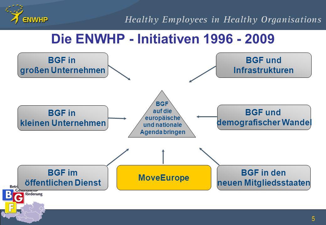 5 Die ENWHP - Initiativen 1996 - 2009 BGF in großen Unternehmen BGF in kleinen Unternehmen BGF im öffentlichen Dienst BGF und Infrastrukturen BGF und