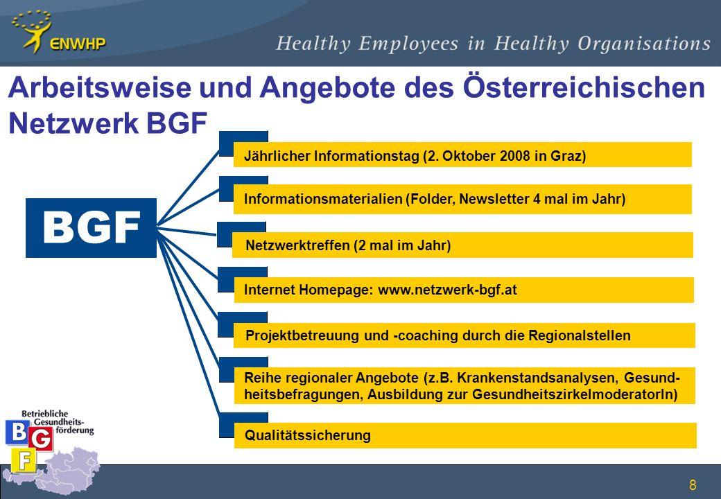 8 BGF Jährlicher Informationstag (2. Oktober 2008 in Graz) Informationsmaterialien (Folder, Newsletter 4 mal im Jahr) Netzwerktreffen (2 mal im Jahr)