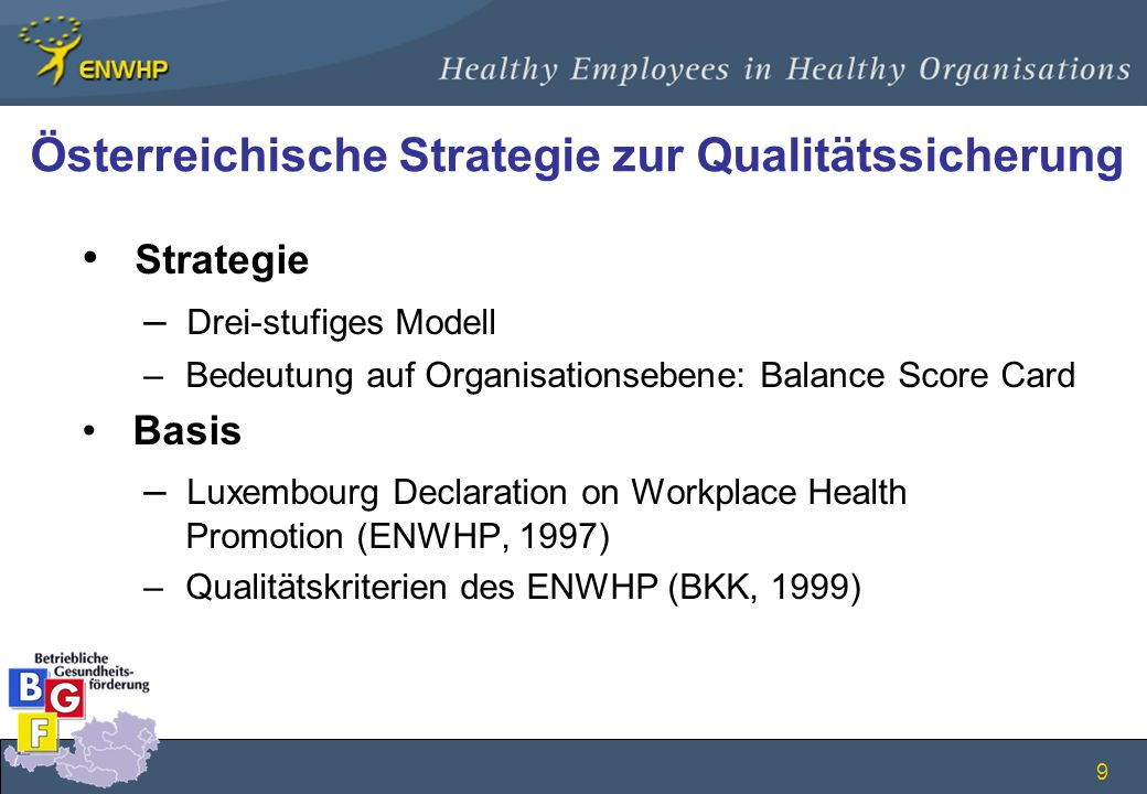 9 Österreichische Strategie zur Qualitätssicherung Strategie – Drei-stufiges Modell – Bedeutung auf Organisationsebene: Balance Score Card Basis – Lux