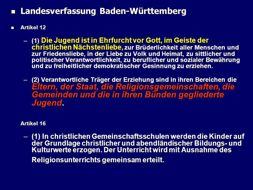 Landesverfassung Baden-Württemberg Landesverfassung Baden-Württemberg Artikel 12 Artikel 12 –(1) Die Jugend ist in Ehrfurcht vor Gott, im Geiste der c