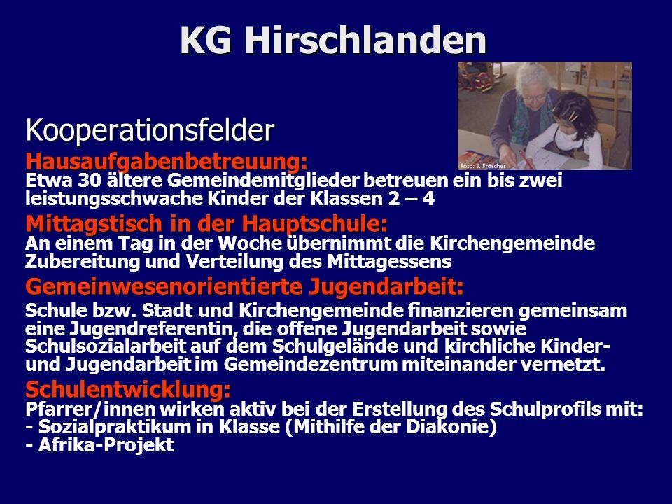 KG Hirschlanden Kooperationsfelder Hausaufgabenbetreuung: Hausaufgabenbetreuung: Etwa 30 ältere Gemeindemitglieder betreuen ein bis zwei leistungsschw