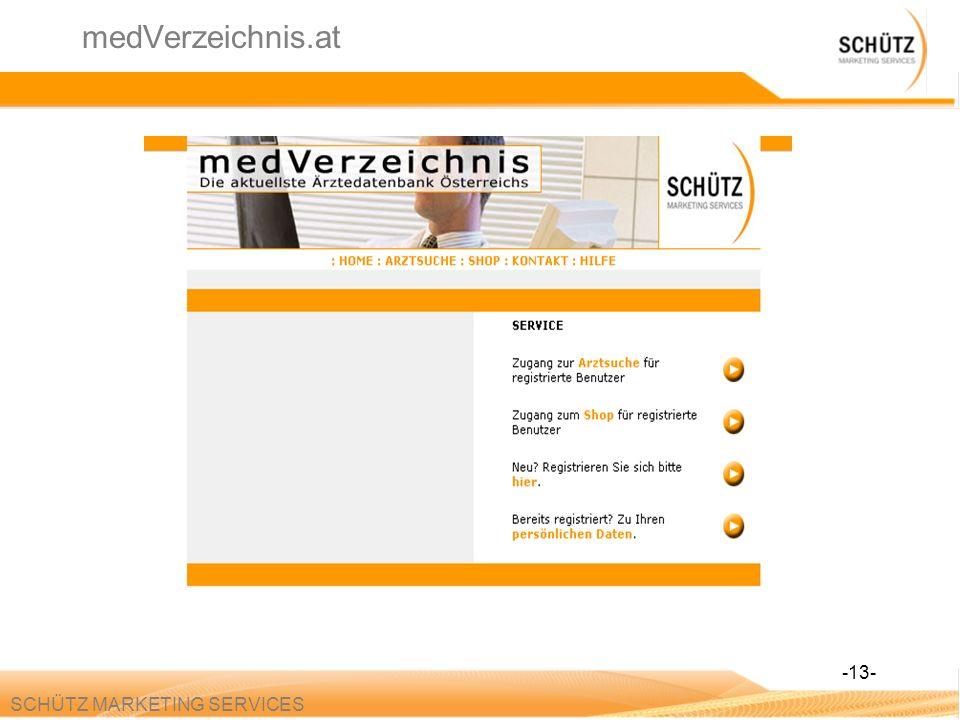 SCHÜTZ MARKETING SERVICES medVerzeichnis.at -13-