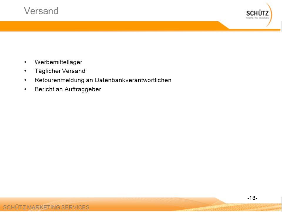 SCHÜTZ MARKETING SERVICES Versand Werbemittellager Täglicher Versand Retourenmeldung an Datenbankverantwortlichen Bericht an Auftraggeber -18-