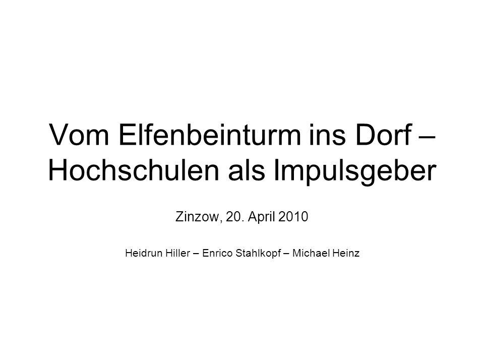 Vom Elfenbeinturm ins Dorf – Hochschulen als Impulsgeber Zinzow, 20. April 2010 Heidrun Hiller – Enrico Stahlkopf – Michael Heinz