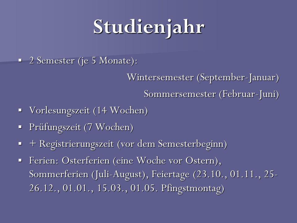Studienjahr 2 Semester (je 5 Monate): 2 Semester (je 5 Monate): Wintersemester (September-Januar) Sommersemester (Februar-Juni) Vorlesungszeit (14 Woc