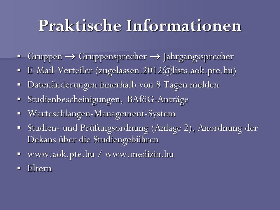 Praktische Informationen Gruppen Gruppensprecher Jahrgangssprecher Gruppen Gruppensprecher Jahrgangssprecher E-Mail-Verteiler (zugelassen.2012@lists.a