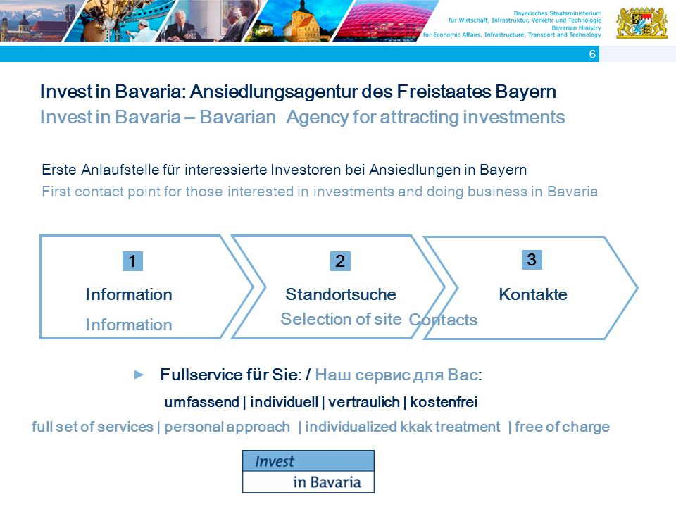 Invest in Bavaria: Ansiedlungsagentur des Freistaates Bayern Invest in Bavaria – Bavarian Agency for attracting investments Fullservice f ü r Sie: / Наш сервис для Вас: umfassend | individuell | vertraulich | kostenfrei full set of services | personal approach | individualized kkak treatment | free of charge Kontakte Contacts Standortsuche Selection of site Information 1 2 3 6 Erste Anlaufstelle f ü r interessierte Investoren bei Ansiedlungen in Bayern First contact point for those interested in investments and doing business in Bavaria